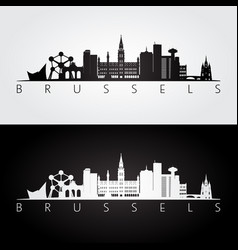 brussel skyline and landmarks silhouette vector image