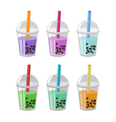 Bubble tea or milk cocktail set isolated on white vector