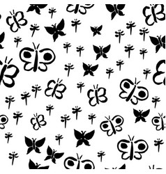 butterfly silhouettes black vector image