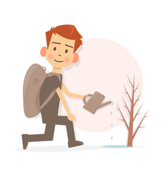 cartoon funny boy watering a tree the young vector image