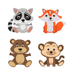 Cartoon of seven baby animals racoon vector