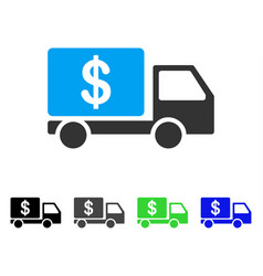 Cash delivery car flat icon vector