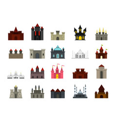 castle icon set flat style vector image