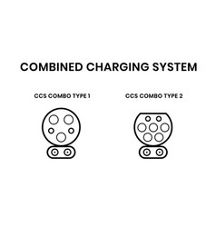 Ccs electric vehicle plugs combined charging vector