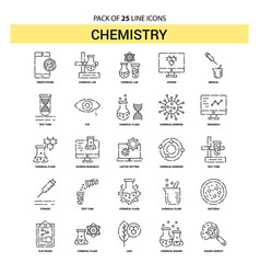 chemistry line icon set - 25 dashed outline style vector image