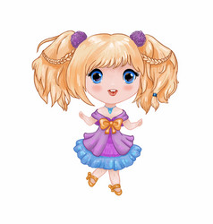 chibi little cute anime girl in purple-blue vector image
