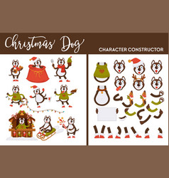 christmas dog character constructor canine on vector image
