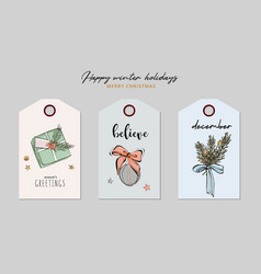 christmas greeting tag set with gift present vector image