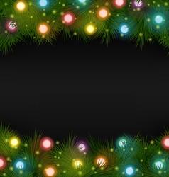 Christmas lights on pine on black vector