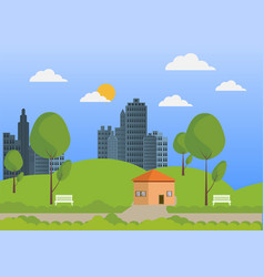 City and nature flat design background vector