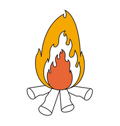 Color sections silhouette of bonfire with thick vector