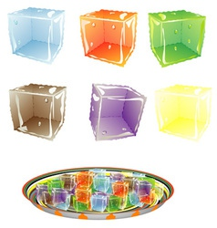 Colored Ice cube vector image