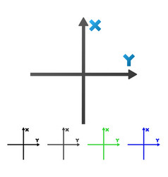 Coordinate axis flat gradient icon vector