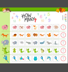 Counting task with cartoon animals vector