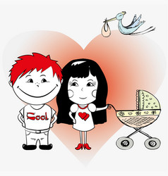 Couple in love with a baby carriage vector