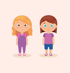 Couple of little girls characters vector