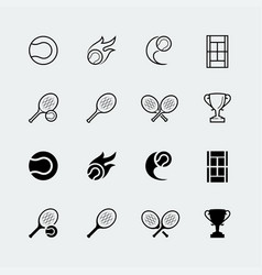 Court tennis related icons set in thin line vector