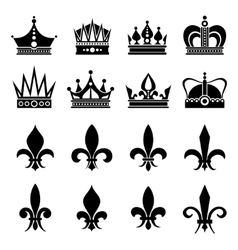 Crown and fleur de lis lily flowers icons vector image