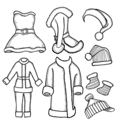doodle costumes Santa Claus vector image