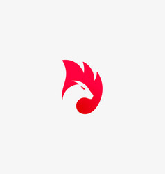 dragon fire wing logo animal head negative vector image