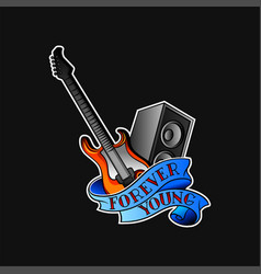 Electric guitar audio speaker and blue ribbon vector