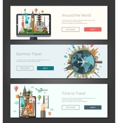 Flat design banners headers set with vector image