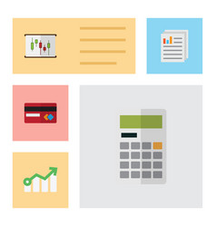 flat icon gain set of payment diagram growth and vector image