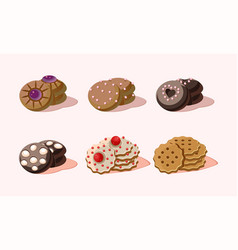 flat set of delicious cookies with vector image