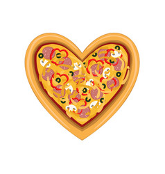 freshly baked pizza in the shape of heart top vector image