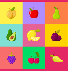 fruit cartoon icons set apple plum lemon cherry vector image