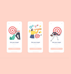 Get your target mobile app page onboard screen vector