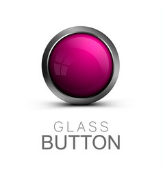 Glass button on white background vector
