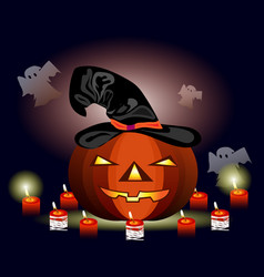 glowing halloween pumpkin with candles and ghosts vector image