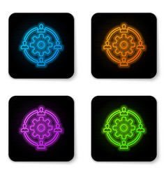 glowing neon outsourcing concept icon isolated on vector image