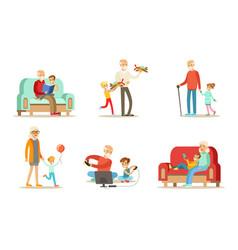 grandpa and grandma spending time vector image