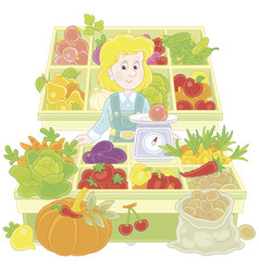 greengrocer in a market vector image