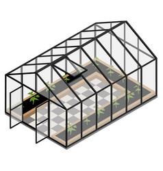 Greenhouse at an organic farm vector