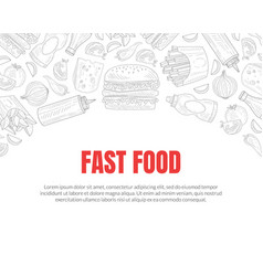 hand drawn fast food restaurant card vector image