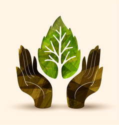 hand tree concept for nature help vector image