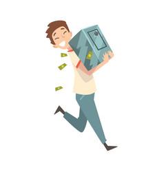 Happy wealthy guy carrying safe full money vector