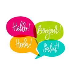 hello speech bubbles lettering english vector image