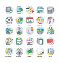 Icons collection of business in flat design vector