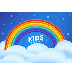 kids background night sky with a rainbow clouds vector image