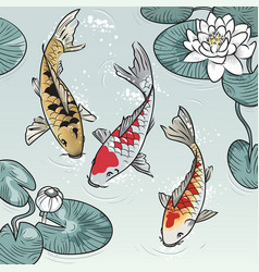 Koi-fish among water-lilys vector