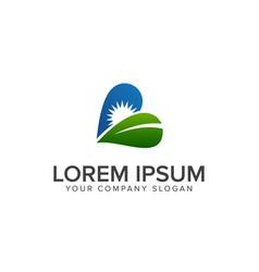 leaf sun logo design concept template vector image