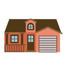 Light color silhouette of facade house with garage vector