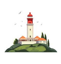 Lighthouse on coast of sea lighthouse vector