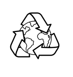 line earth planet with recycle symbol design vector image