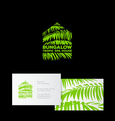 logo bungalow spa palm leaves tropic vector image