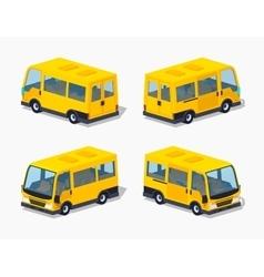 Low poly yellow passenger minivan vector